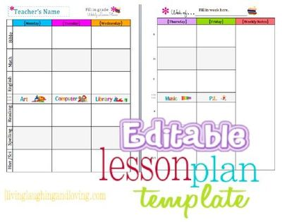 editable free lesson plan template