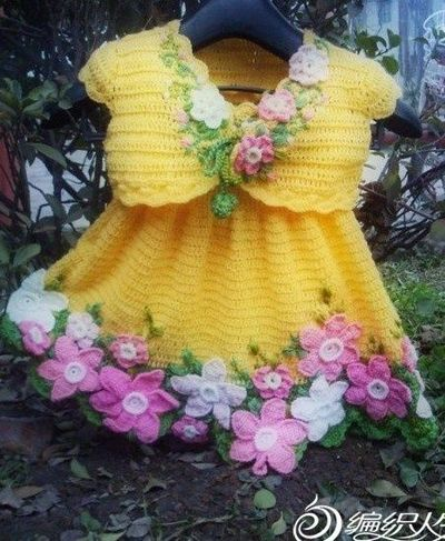 Dress And Bolero Decorated With Flowers Free Crochet Graph P