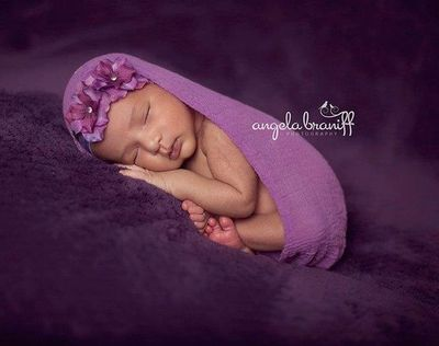 Baby Flower Headband - Baby Flower Headband - Double Dainty Orchid Purple with Crystals
