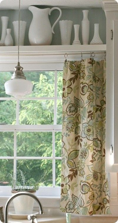 Kitchen window treatment shelf between cabinets with for Curtain display ideas