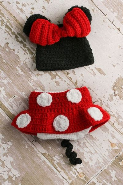 Crochet Minnie Mouse Beanie Hat Diaper Cover Skirt By