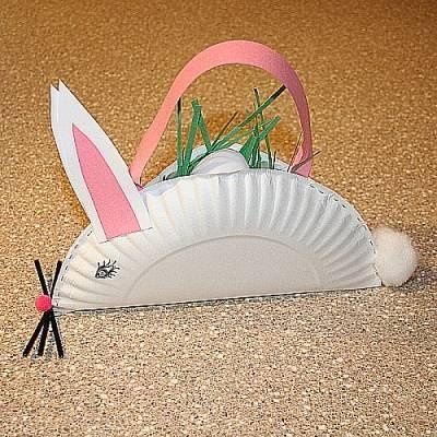 bunny easter basket made out of a paper plate {DIY}
