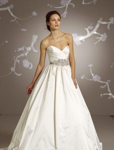 Lazaro sweetheart a line gown in satin gowns juxtapost for Lazaro a line wedding dress