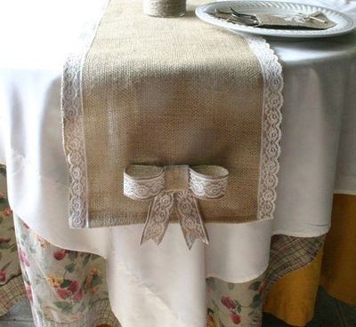 Burlap wedding decorations burlap table runner by - Table runner decoration ideas ...