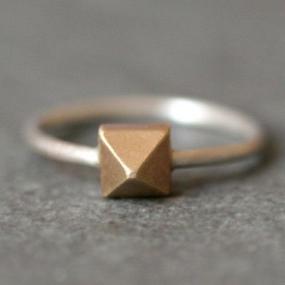 Pyramid Ring in 14K Gold and Sterling by MichelleChangJewelry $218