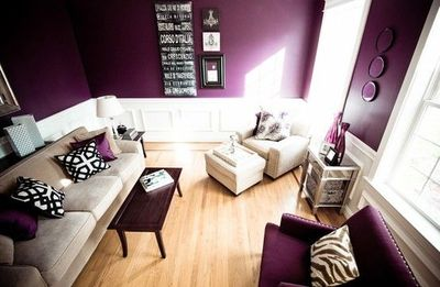 Gorgeous Purple Living Room Accents Of Cream White And Bla For The Home Juxtapost