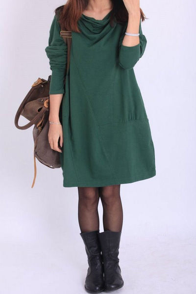 Fall Pile collar loose cotton dress