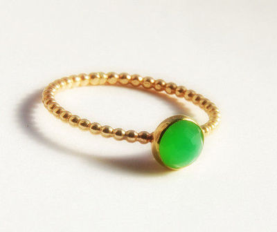 Rose Cut Australian Chrysoprase Ring- Dainty Stackable Gold Ring- Gold Stacking Ring