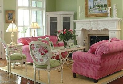 Tremendous Love The Pink Sofas Green Walls Floral Accent Chairs Fire Dailytribune Chair Design For Home Dailytribuneorg