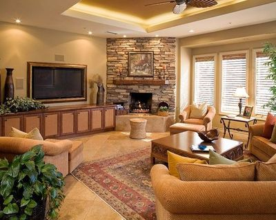 Corner Mediterranean Stone Fireplaces Design, Pictures, Remo ...