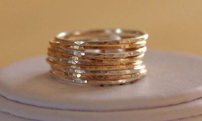 Set of 9 14K gold filled & sterling silver Stackable rings, mix and matched rustic jewelry