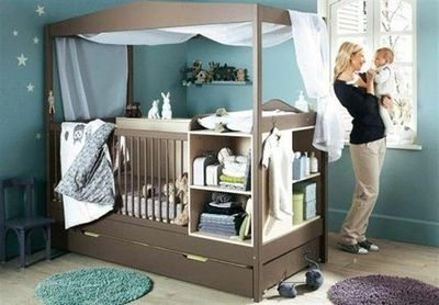 crib with storage installed and trundle bed underneath for p