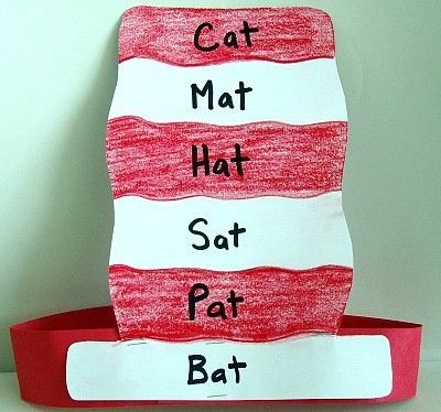Dr. Seuss Cat In The Hat -at words Find rhyming words in the book and ...