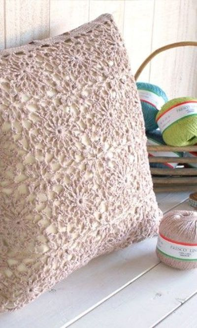 Crochet Cushion Cover Of Lacy Squares Free Pattern Diagra