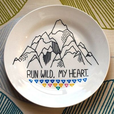 Hand Drawn Plate - Run Wild My Heart.