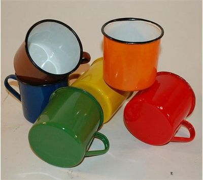 six vintage enamel mugs camping kitchen use by secondseed on Etsy, $60.00