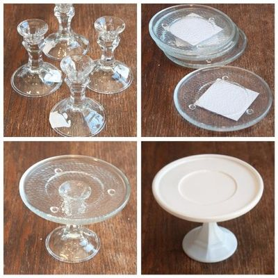 Diy cake plate candlestick holders and small plates from for Plate cake stand diy