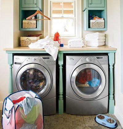 This is not a bad laundry room. I love the robin egg blue, and the added countertop makes folding clean laundry a cinch!