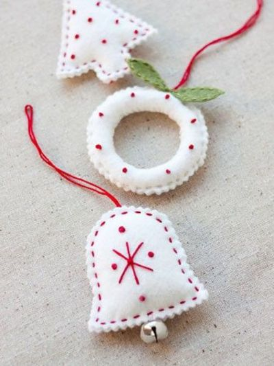 How to diy these simple felt christmas ornaments for Easy christmas felt crafts