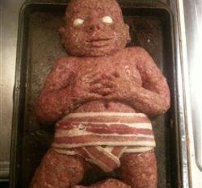 bacon baby super creepy baby shower cake yuck internet memes