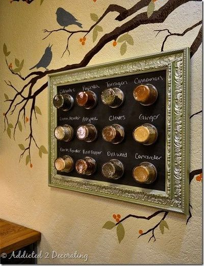 diy framed-magnetic-spice-rack