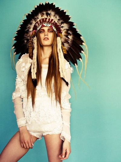 Native American Bohemian Style Feathers Head Dress Birds Juxtapost