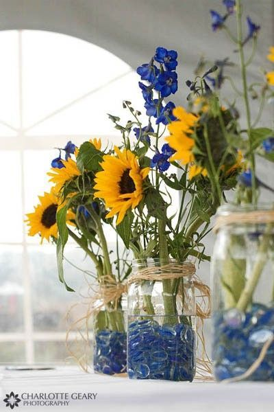 sunflower mason jar centerpieces wedding ideas juxtapost