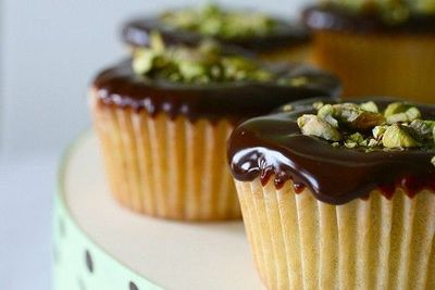 Pistachio Cupcakes with Chocolate Ganache Topping
