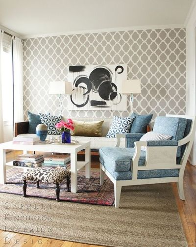 Trellis Wallpaper Or Stencil White And Grey Living Room Wit For The Hom