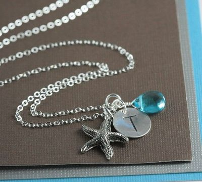 Personalized Silver Necklace with Starfish Charm by TheresaRose, $22.00