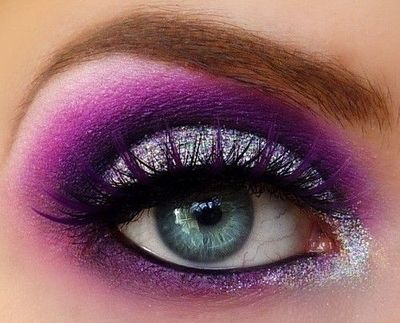 Purple and silver glitter eye makeup with false lashes. / make up ...