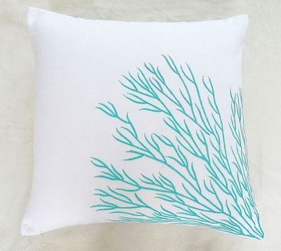 Blue Coral Throw Pillow : aqua blue coral trellis on white throw pillow / Comfyheaven throw pillows - Juxtapost