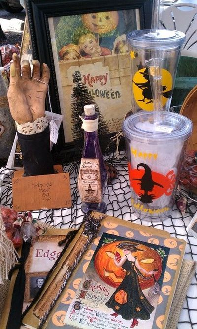 Mementos designs...Halloween journals, vintage image postcards (framed here!), spooky bottles and vinyl 'thermal' cups. Fall in Livermore!