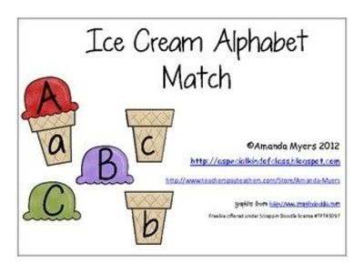 Summer ice cream match for upper and lowercase letters- FREE ...