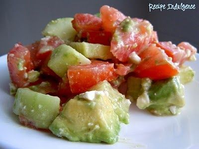Avacado, cucumber and tomato salad. (no one here likes feta so I would sub ricotta or even cottage cheese)