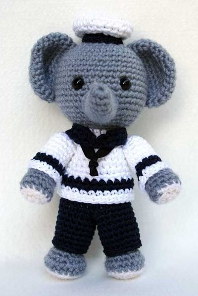 Free Crochet Patterns Elephant : Elephant sailor amigurumi, free pattern / crochet ideas ...