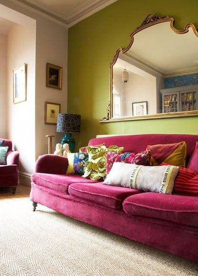 Hot Pink Sofa Against Lime Green Wall.