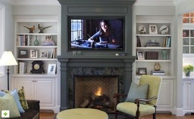 Dark crey fireplace pop out from side shelves love the gre