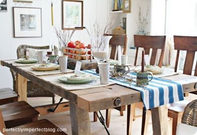 Reclaimed wood dining table. Want.