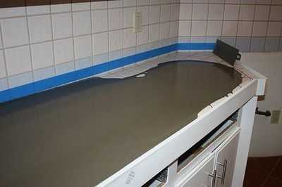Concrete Counter Top Diy Pour Right Over Our Ugly Tile