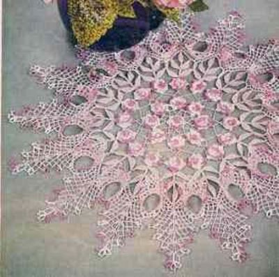 Free Pattern Vintage Rose Ruffled Doily Centerpiece Love