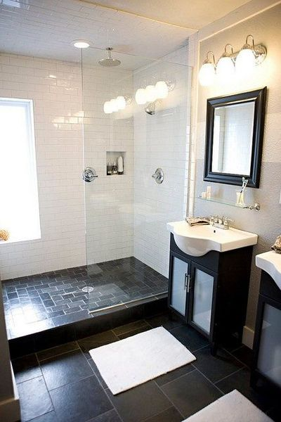 Small Bathroom With Dark Tile : Small bathroom white subway tile with dark square floor