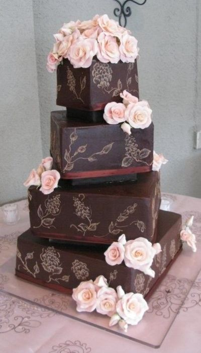 Chocolate plated ganache and roses