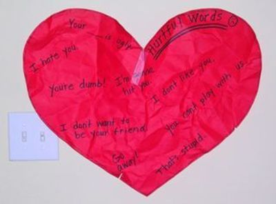 "Object lesson on hurtful words and how they can ""crumple"" your heart"