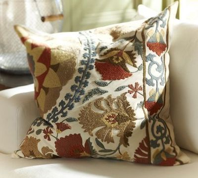 Embroidered Throw Pillows Pottery Barn : Mila Suzani Embroidered Pillow Cover Pottery Barn / For ...