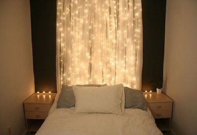 white string lights behind sheer curtain, bedroom / Walls stash - Juxtapost
