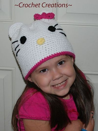 Free Crochet Pattern For A Hello Kitty Hat : Free Crochet Hello Kitty Hat pattern. / knits and kits ...