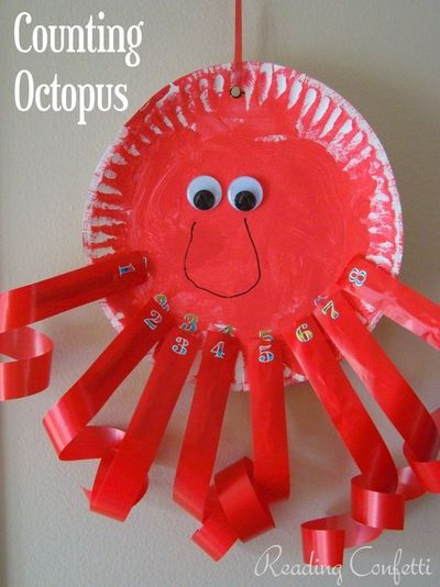 Counting octopus clothespin craft from reading confetti for Octopus craft for preschool