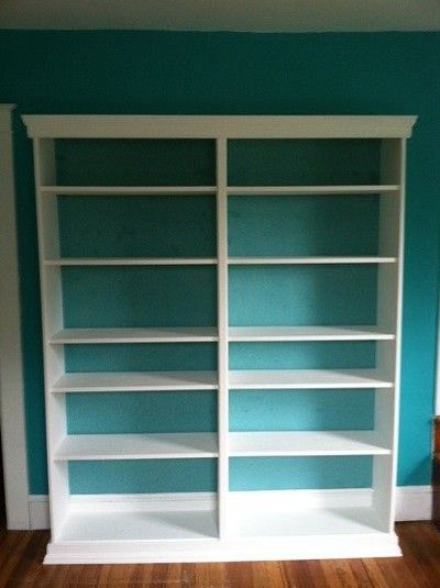 Pin billy bookcase with blue background and molding ikea for Ikea blue billy bookcase