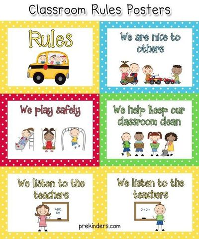 Dynamic image with free printable classroom rules poster